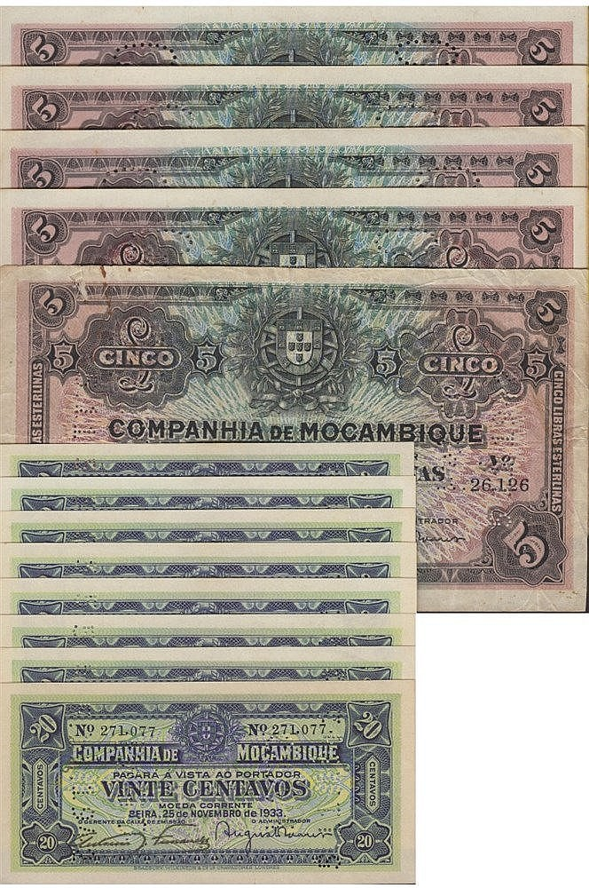 Paper Money - 13 expl. Mozambique 20 Centavos, 5 Libras Esterlinas 1933-1934
