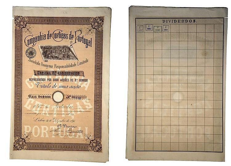 Título de Acção - 90$000 1891