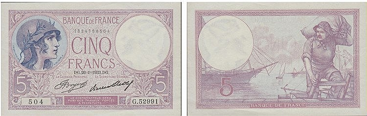 Paper Money - France 5 Francs 1933
