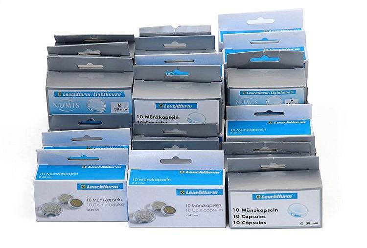 Material Numismático - 30 caixas de cápsulas