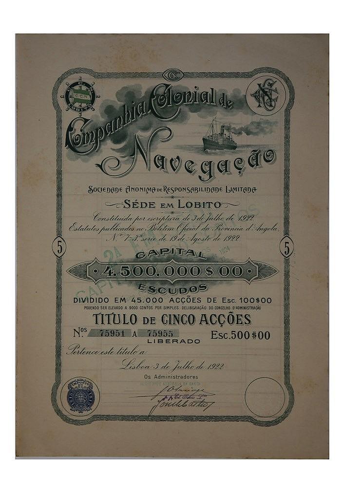 Título de Acção - 500$00 1922