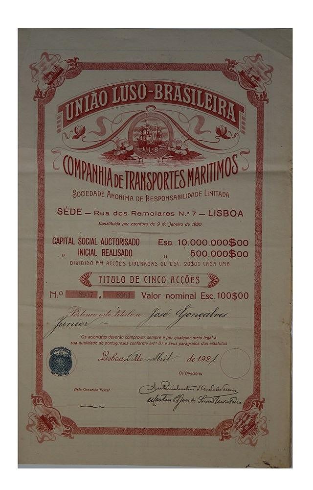 Título de Acção - 100$00 1921