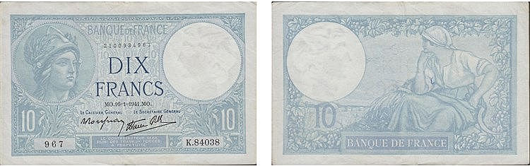 Paper Money - France 10 Francs 1941