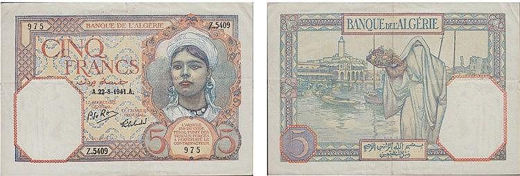 Paper Money - Argélia 5 Francs 1941