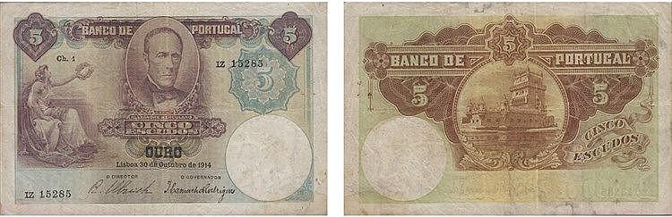 Paper Money - Portugal - 5$00 ch. 1 1914