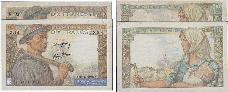Paper Money - France 2 expl. 10 Francs 1942-1947