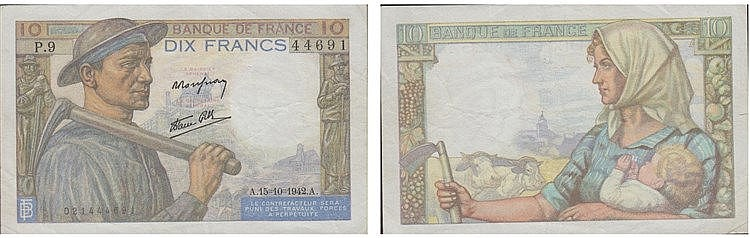 Paper Money - France 10 Francs 1942