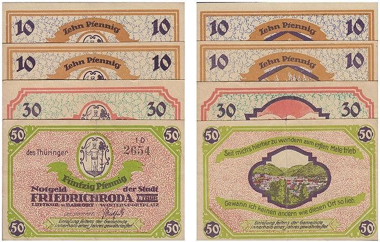 Paper money - Germany 4 expl. 10, 30, 50 Pfennig (1922)