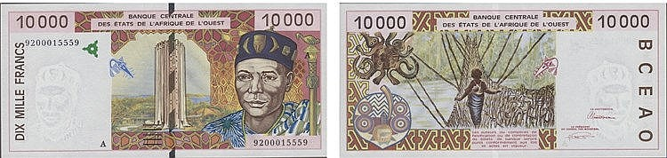 Paper Money - West African States 10 000 Francs (19)92