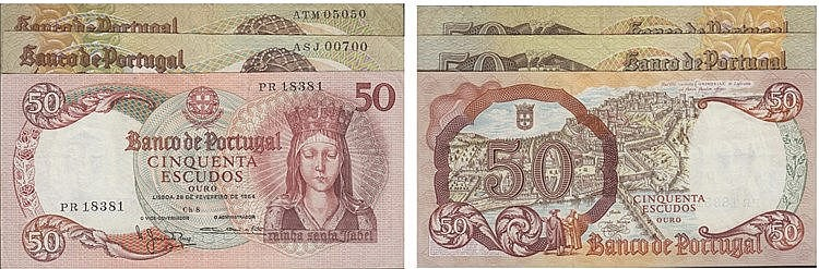 Paper Money - Portugal - 3 expl. 50$00 ch. 8 (1964), ch. 9 (1980), Radial Number