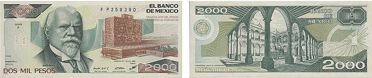 Paper Money - Mexico 2000 Pesos 1983
