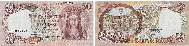Paper Money - Portugal - 50$00 ch. 8 1964, Radial Number