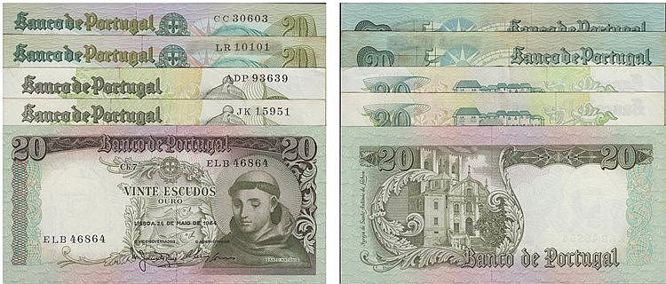 Paper Money - Portugal - 5 expl. 20$00 ch. 7 (1964), ch. 8 (1971), ch. 9 (1978), Radial Number