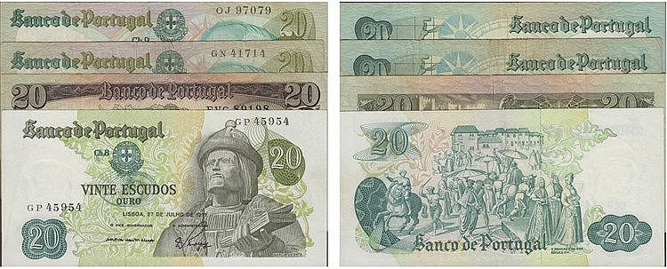 Paper Money - Portugal - 4 expl. 20$00 ch. 7 (1964), ch. 8 (1971), ch. 9 (1978), Radial Number