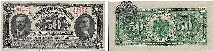 Paper Money - Mexico - Sonora 50 Centavos 1915