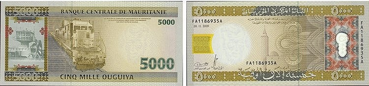 Paper Money - Mauritania 5000 Ouguiya 2009