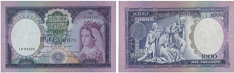 Paper Money - Portugal - 1000$00 ch. 8A 1961