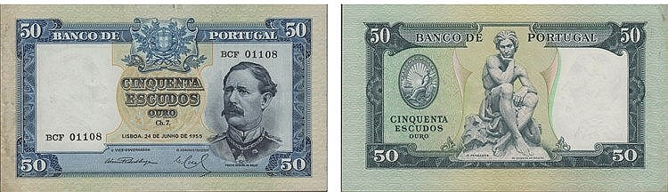 Paper Money - Portugal - 50$00 ch. 7 1955