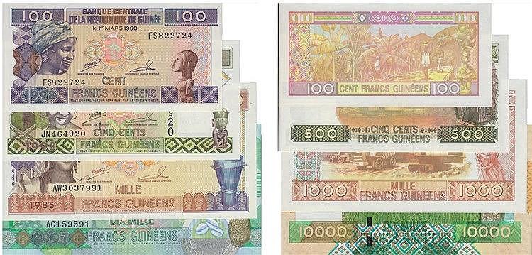 Nota - Guinea - 4 expl. 100, 500, 1000, 10 000 Francs 1985-2007