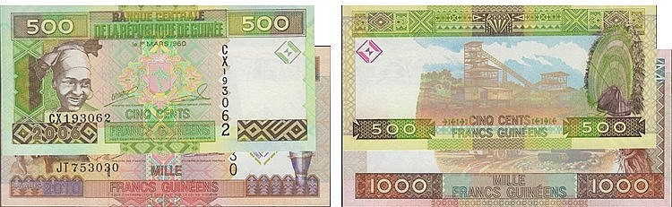 Paper Money - Guinea 2 expl. 500, 1000 Francs 2006-2010