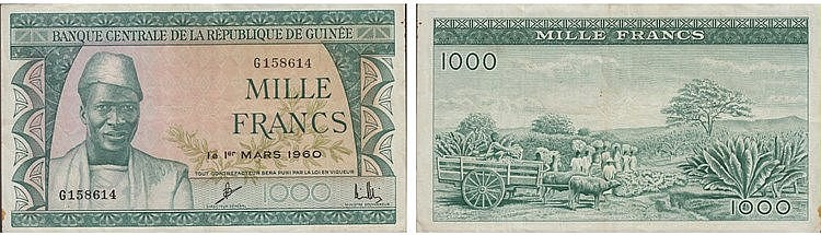 Paper Money - Guiné-Equatorial 1000 Francs 1960
