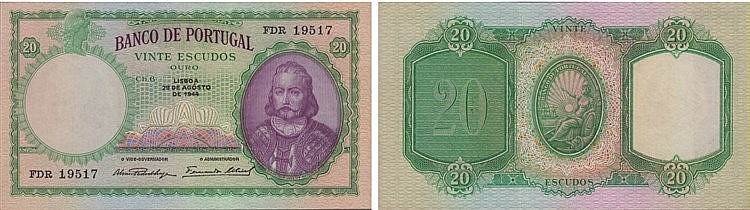 Paper Money - Portugal - 20$00 ch. 6 1944