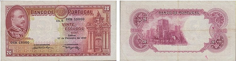 Paper Money - Portugal 20$00 ch. 5 1940