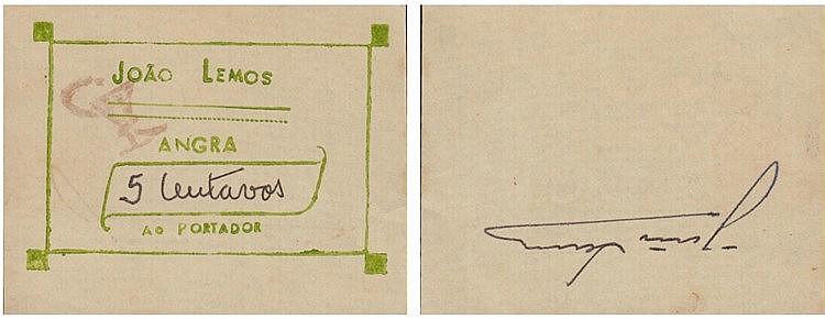 Cédula - Angra (do Heroísmo / Açores) 5 Centavos N/D