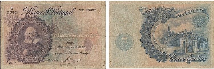 Paper Money - Portugal - 5$00 ch. 2 1922