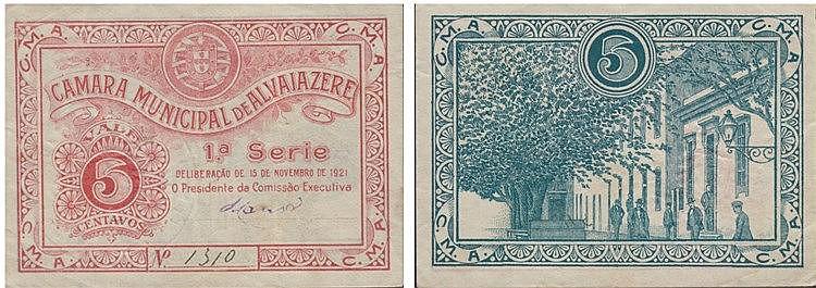 Cédula - Alvaiazere 5 Centavos 1921
