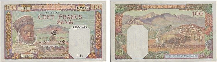 Paper Money - Algeria 100 Francs 1945