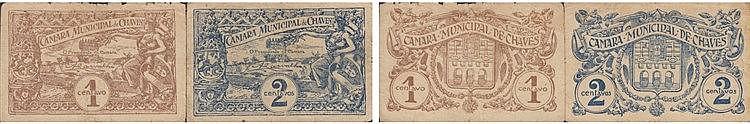 Cédula - Chaves 2 expl. 1, 2 Centavos N/D