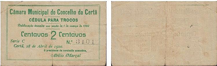 Cédula - Certã 2 Centavos 1920