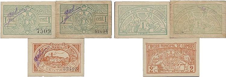 Cédula - Coimbra 3 expl. 1, 2 Centavos 1920