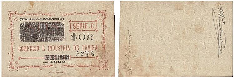 Cédulas - Tavira 2 Centavos 1920