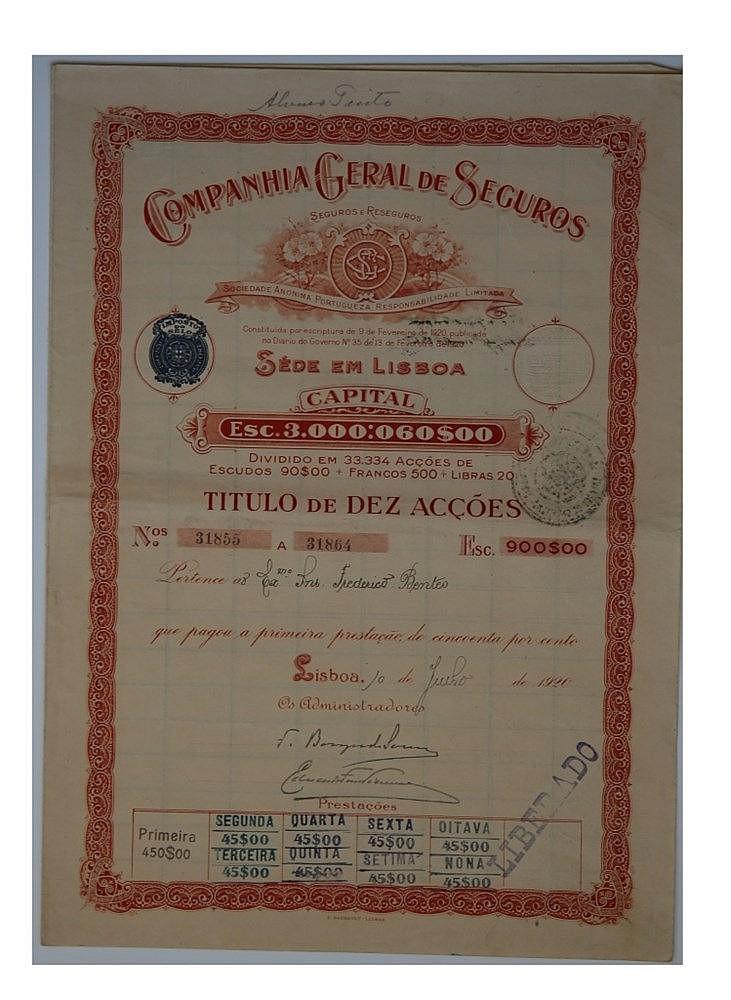 Título de Acção - 900$00 1920