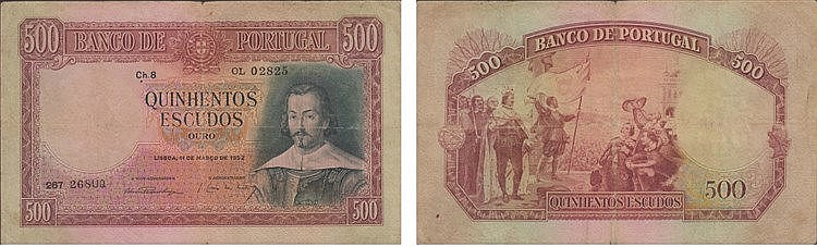 Paper Money - Portugal - 500$00 ch. 8 1952
