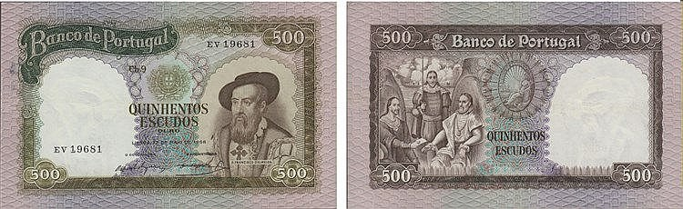 Paper Money - Portugal 500$00 ch. 9 1958