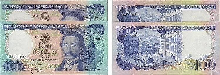 Paper Money - Portugal - 2 expl. 100$00 ch. 7 1965-1978