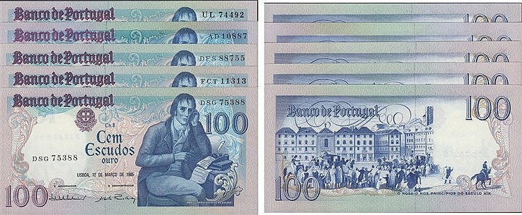 Paper Money - Portugal - 5 expl. 100400 ch. 8 1980-1985