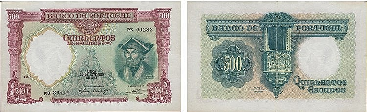 Paper Money - Portugal 500$00 ch. 7 1942
