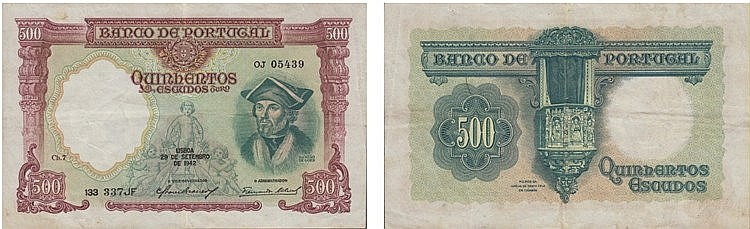 Paper Money - Portugal - 500$00 ch. 7 1942