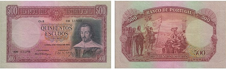 Paper Money - Portugal 500$00 ch. 8 1952