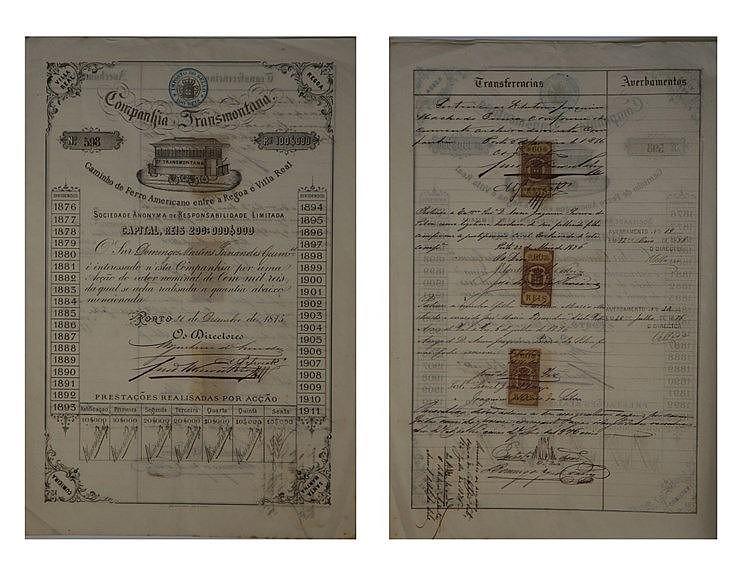 Título de Acção - 100$000 1875