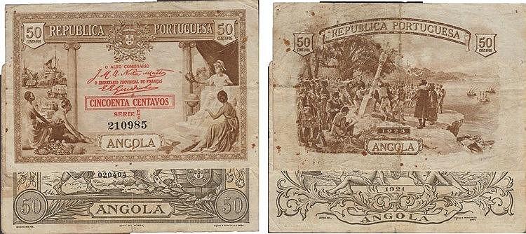 Paper Money - Angola 2 expl. 50 Centavos 1921-1923