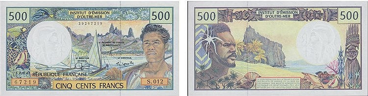 Paper Money - French Pacific Territories 500 Francs ND (1992)