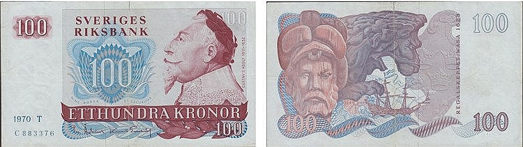 Paper Money - Suécia 100 Kronor 1970 T