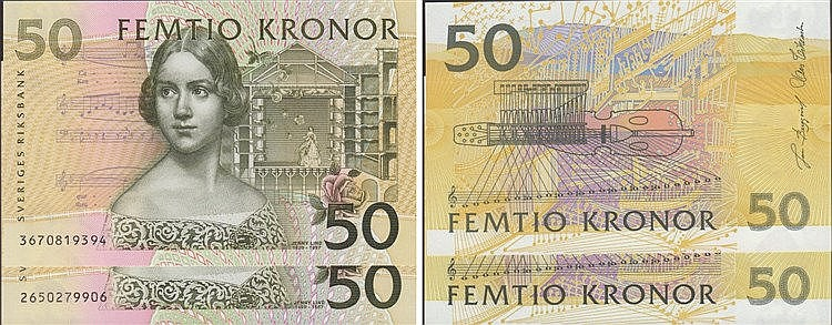 Paper Money - Sweden 2 expl. 50 Kronor ND