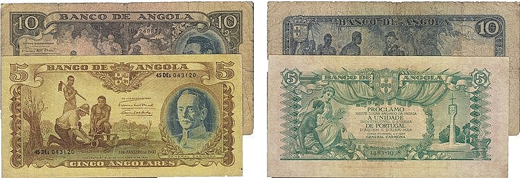 Paper Money - Angola 2 expl. 5, 10 Angolares ND(1946)-1947