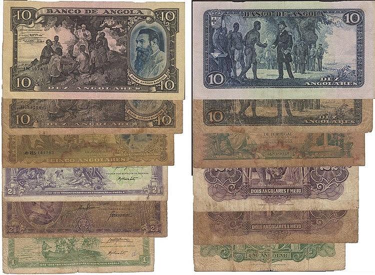 Paper Money - 6 expl. Angola 1, 2-1/2, 5, 10 Angolares 1942-1948